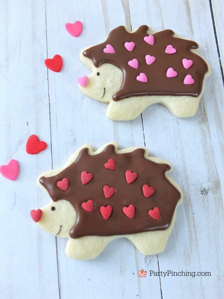 hedgehog cookies, best hedgehog cookie recipe, best Valentine's day cookie recipes, cute adorable Valentine's Day cookies, cute food, fun food for kids, kid friendly food, Valentine food party dessert ideas