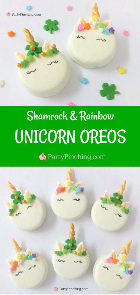 St Patrick's day unicorn cookies, shamrock unicorn cookies, rainbow unicorn cookies, St. Patrick's day Oreos, cute Oreo cookies, unicorn Oreos, best St. Patrick's day cookie recipes, Best St. Patrick's day party ideas