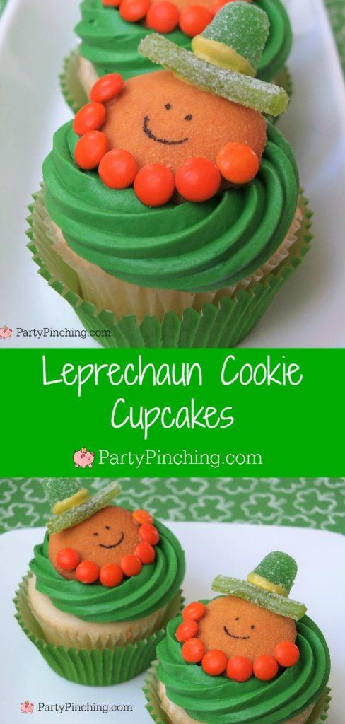 Leprechaun Cookie Cupcakes, green st. Patrick's Day food, best St. Patrick's day party food recipe ideas, candy leprechauns, cute st. paddy's day dessert