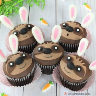 sloth bunny cupcakes for Easter, cute adorable sloth cupcakes, sloth with bunny ears, easy Easter cupcake recipe, best sloth cupcake recipe, fondant sloth cupcakes, fun food for kids, sweet treats