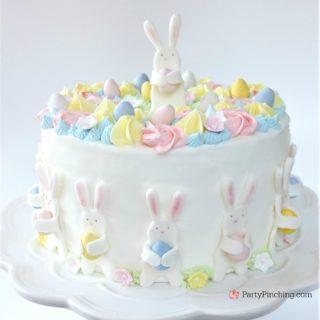 Easter Bunny Egg Hunt Cake, cute pastel Easter Cake, beautiful adorable pretty Easter cake, fondant bunny cake, Bunnies holding eggs, pastel Spring flower cake, Best Easter cake recipe