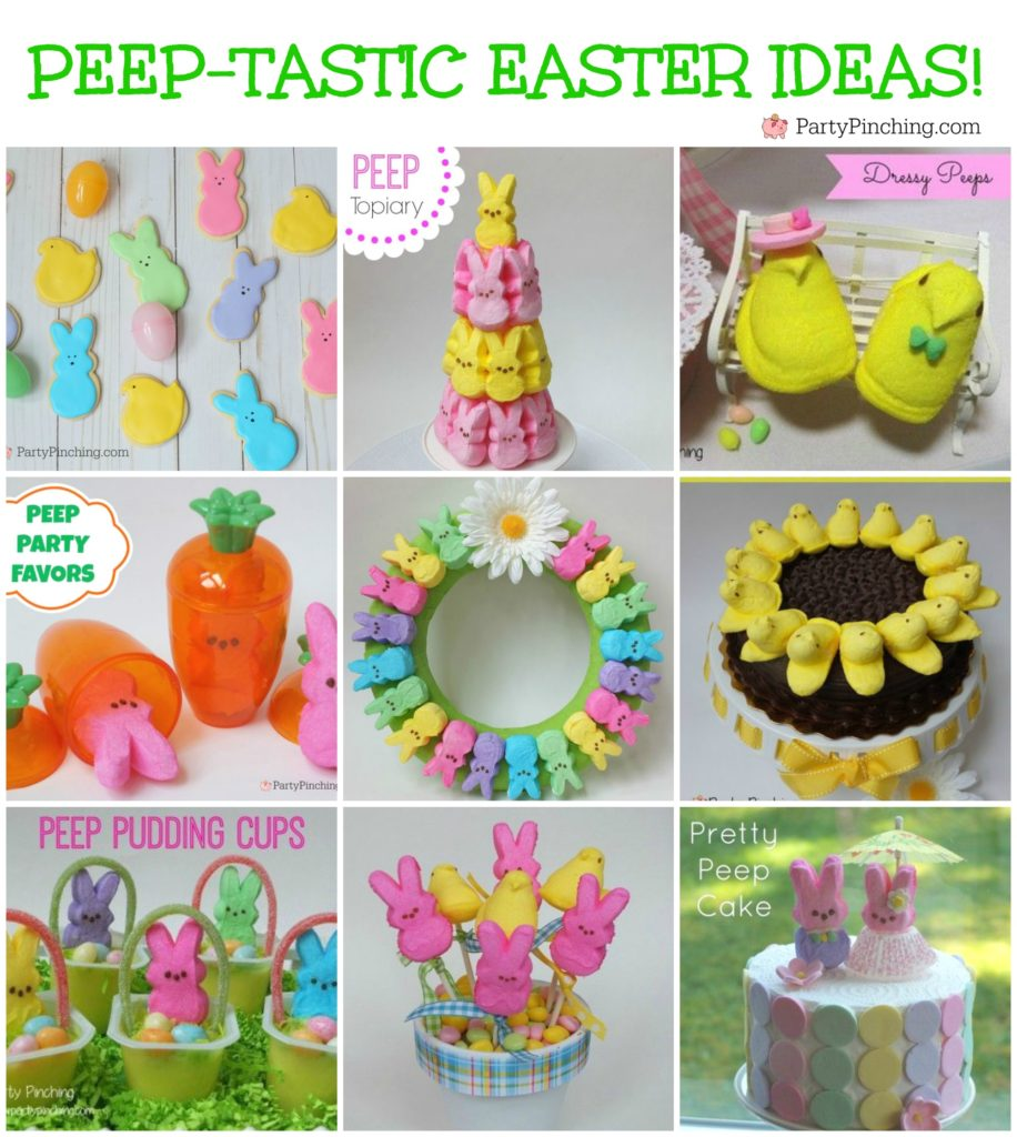Best Easter Peep chick bunny craft food treat ideas, Peep topiary, Peep wreath