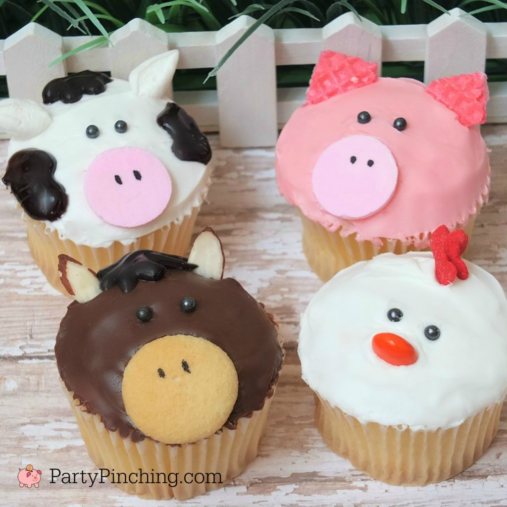 Cute barnyard farm cupcakes, pig cupcakes, cow cupcakes, chicken cupcakes, horse cupcakes, best farm barnyard party ideas