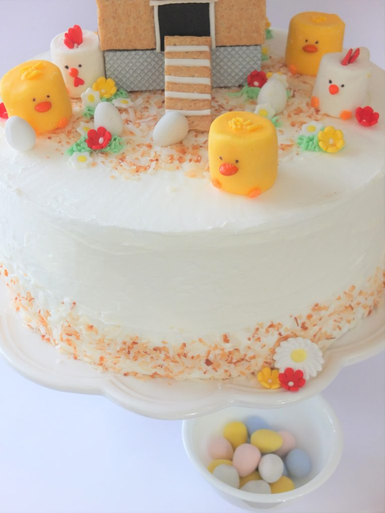 Chicken Coop Cake, cute chicken  coop cake recipe, adorable chicken cake, chicken coop gingerbread, chicken coop cookie, graham cracker chicken coop, fondant chicken coop, marshmallow chicks