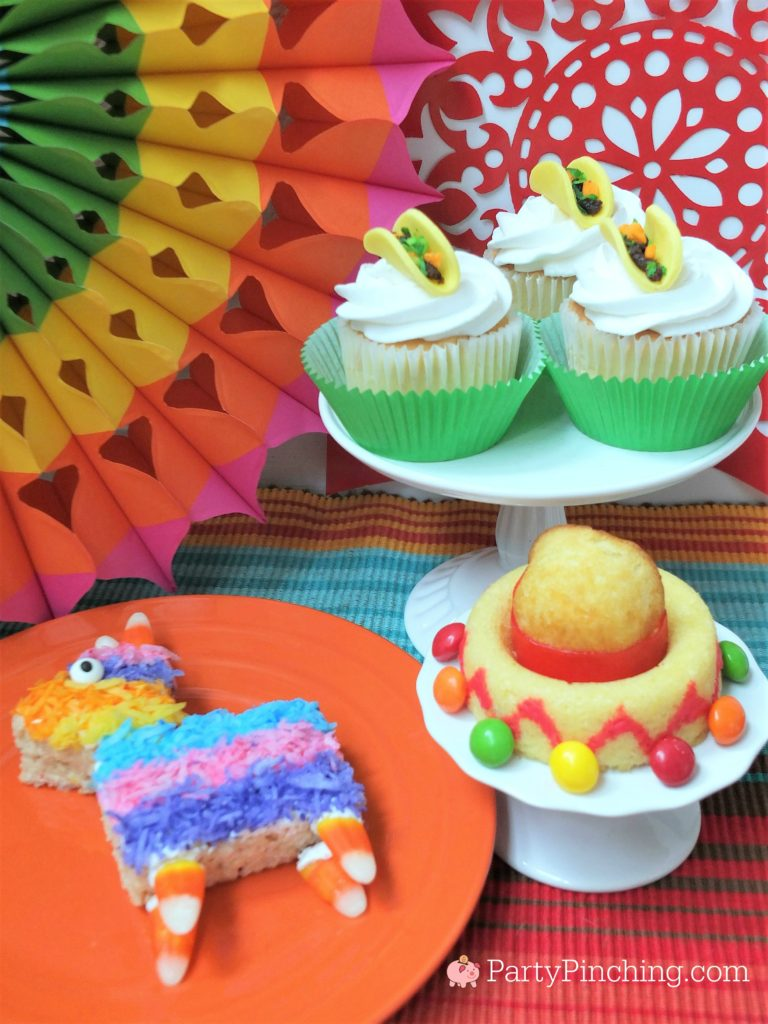 best cinco de mayo party food dessert recipe ideas, taco cupcakes, pinata rice crispy krispie treat, sombrero cake