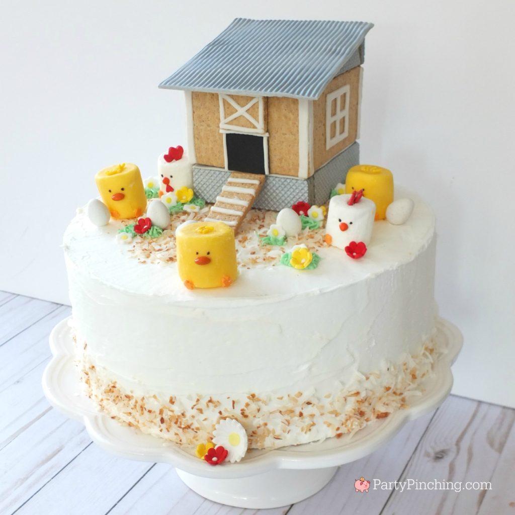 Chicken Coop Cake, cute chicken coop cake recipe, adorable chicken cake, chicken coop gingerbread, chicken coop cookie, graham cracker chicken coop, fondant chicken coop, marshmallow chicks