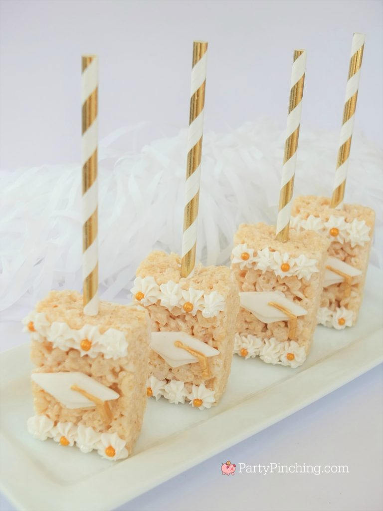 easy graduation rice krispie treats pops, DIY Glitter Gold & White Glam Graduation Party, best graduation party ideas for girls daughter, sweet grad party ideas, best graduation open house ideas