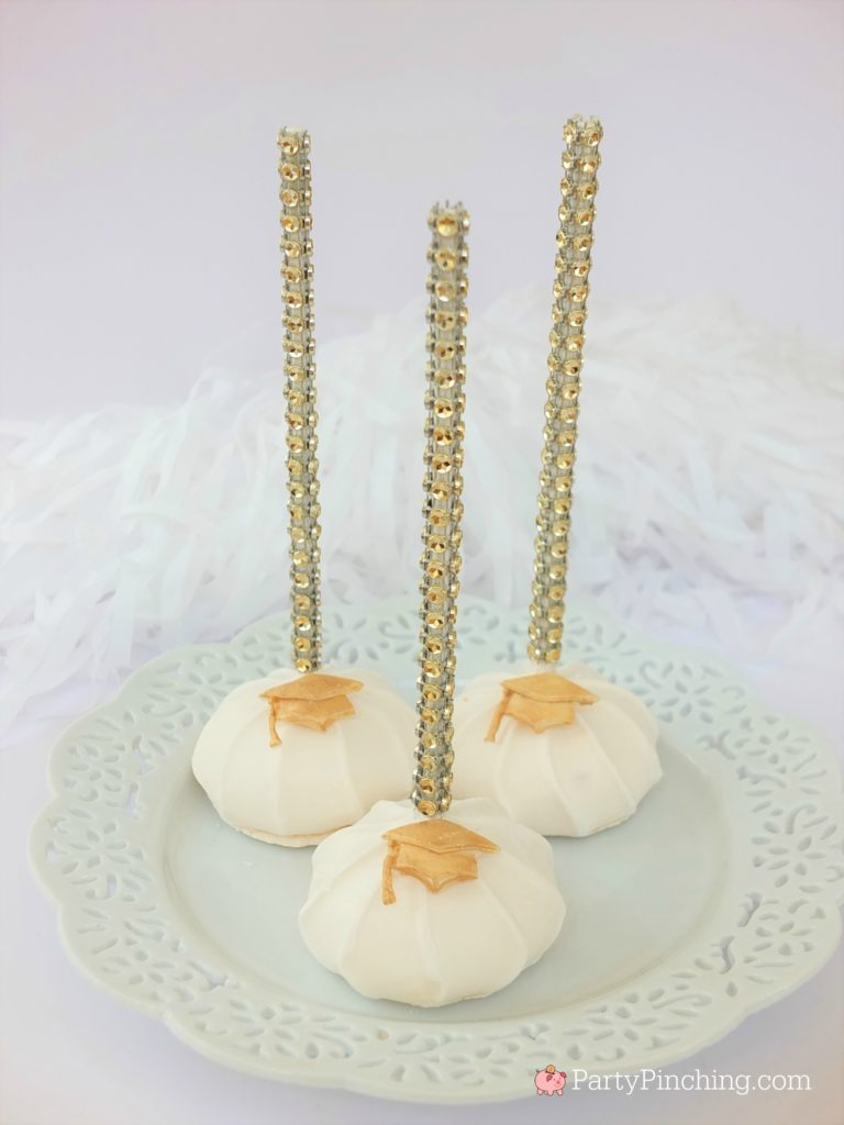 graduation meringue cookie pops, DIY Glitter Gold & White Glam Graduation Party, best graduation party ideas for girls daughter, sweet grad party ideas, best graduation open house ideas