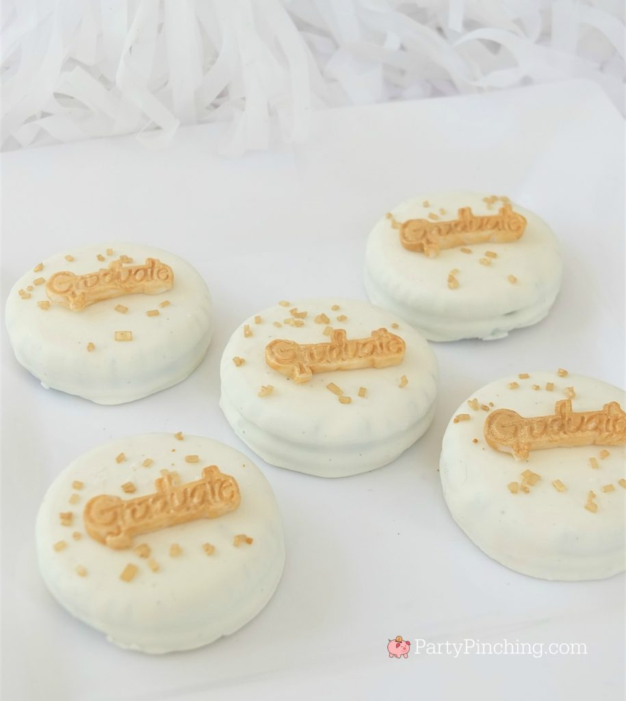 easy graduation Oreo cookies, DIY Glitter Gold & White Glam Graduation Party, best graduation party ideas for girls daughter, sweet grad party ideas, best graduation open house ideas