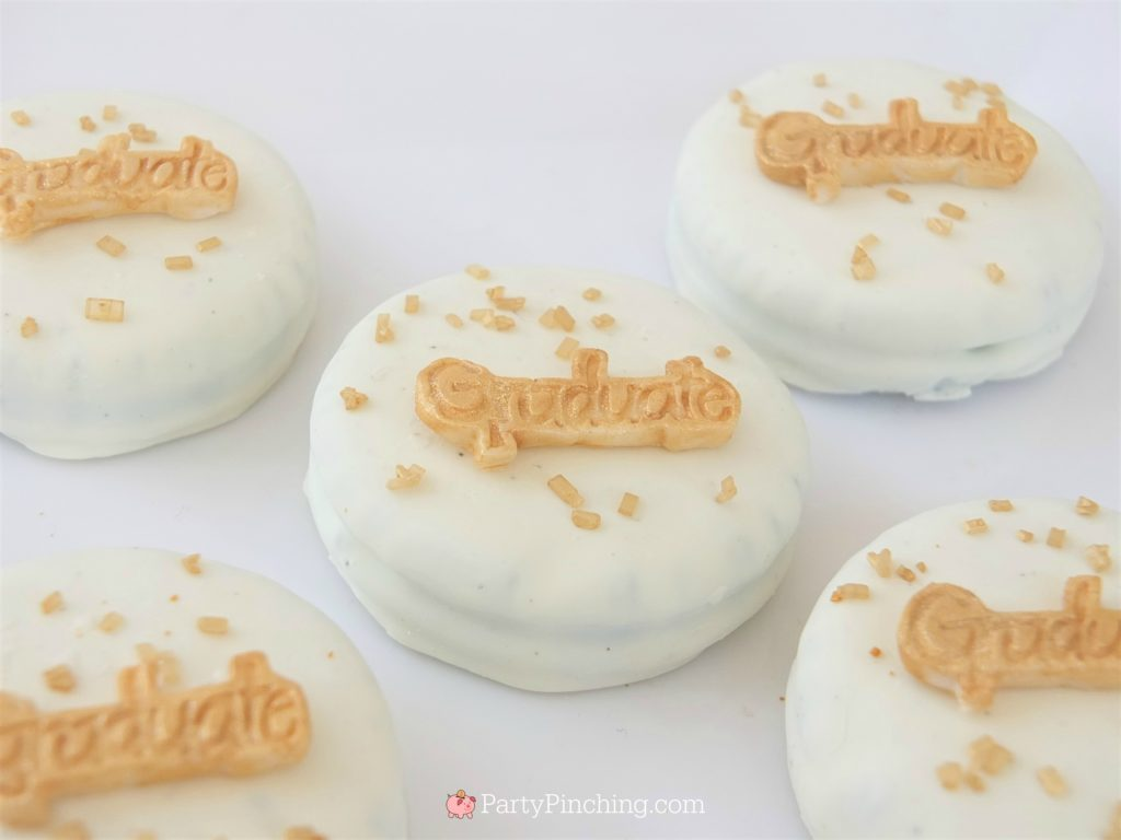 easy graduation Oreos,  DIY Glitter Gold & White Glam Graduation Party, best graduation party ideas for girls daughter, sweet grad party ideas, best graduation open house ideas