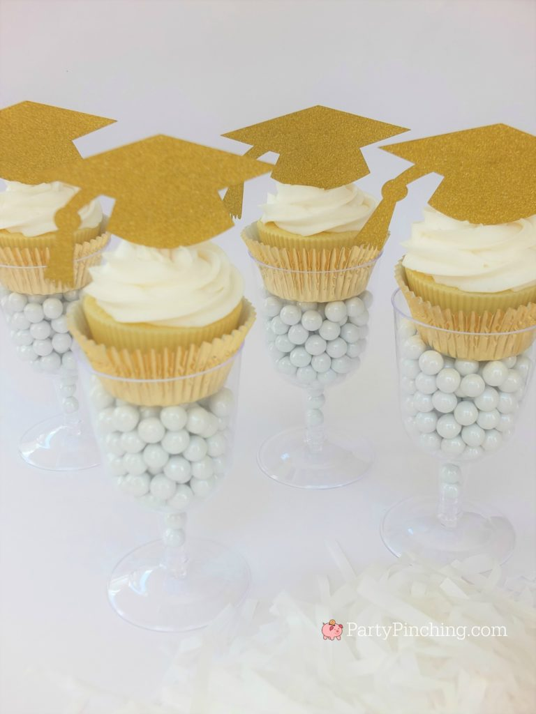 graduation hat cupcake gold glitter in champange glass, DIY Glitter Gold & White Glam Graduation Party, best graduation party ideas for girls daughter, sweet grad party ideas, best graduation open house ideas