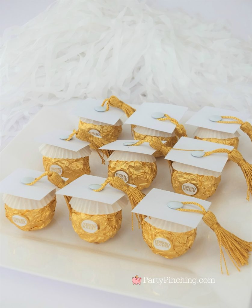 white Ferrero Roche graduation caps, DIY Glitter Gold & White Glam Graduation Party, best graduation party ideas for girls daughter, sweet grad party ideas, best graduation open house ideas
