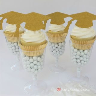 graduation cupcake in wine glass, glitter gold cupcake grad party, best graduation party ideas, easy cheap affordable grad party open house, dollar store graduation ideas, candy in wine champagne glass cupcake favor