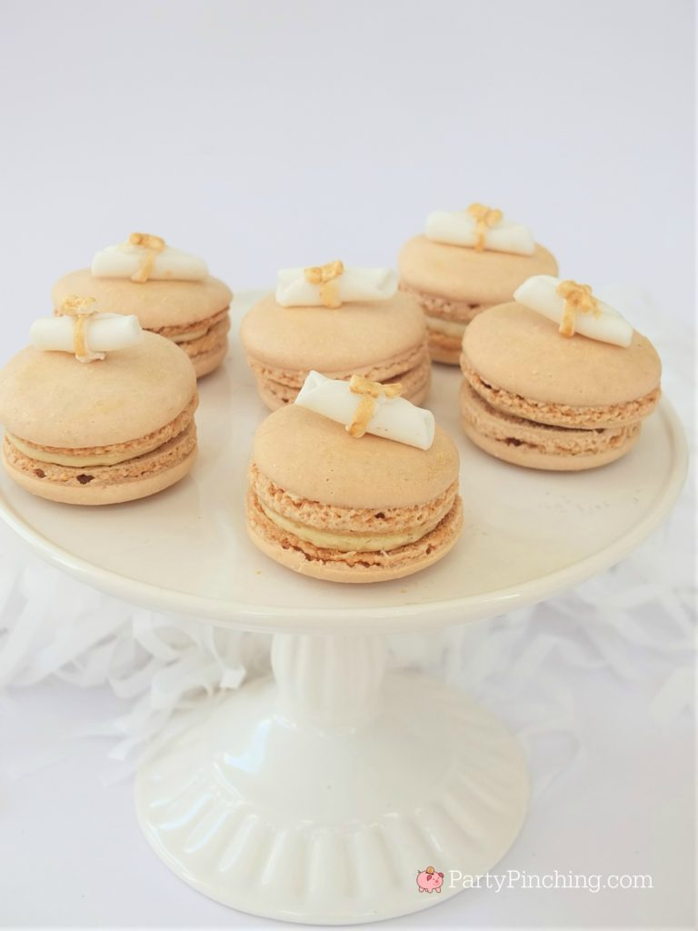 easy Diploma graduation macarons,  DIY Glitter Gold & White Glam Graduation Party, best graduation party ideas for girls daughter, sweet grad party ideas, best graduation open house ideas