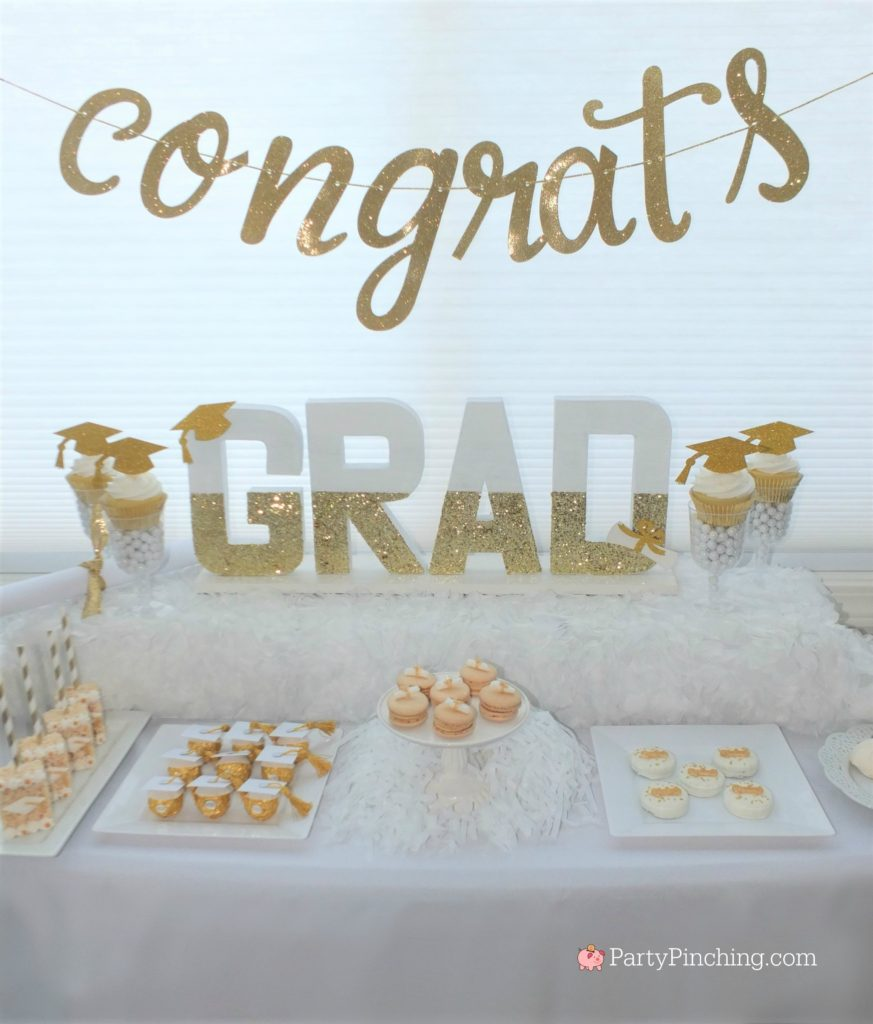 DIY Glitter Gold & White Glam Graduation Party, best graduation party ideas for girls daughter, sweet grad party ideas, best graduation open house ideas