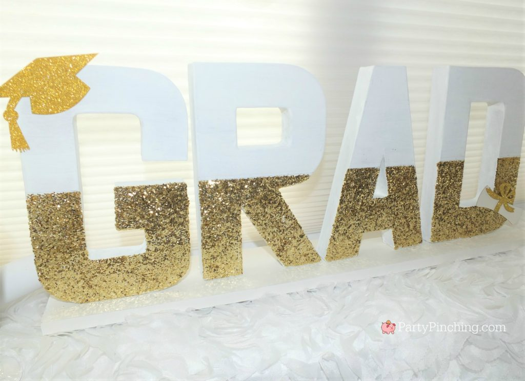 easy DIY Graduation Paper Mache letter centerpiece, DIY Glitter Gold & White Glam Graduation Party, best graduation party ideas for girls daughter, sweet grad party ideas, best graduation open house ideas
