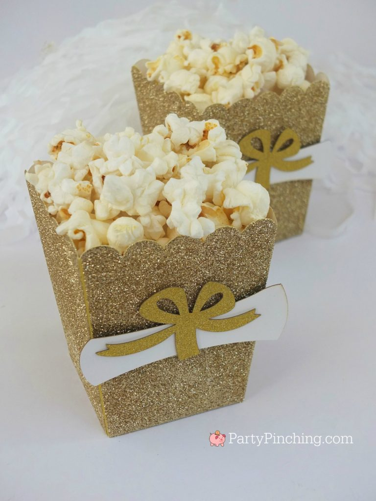 pretty popcorn glitter gold treat boxes with diplomas for graduation open house party ideas