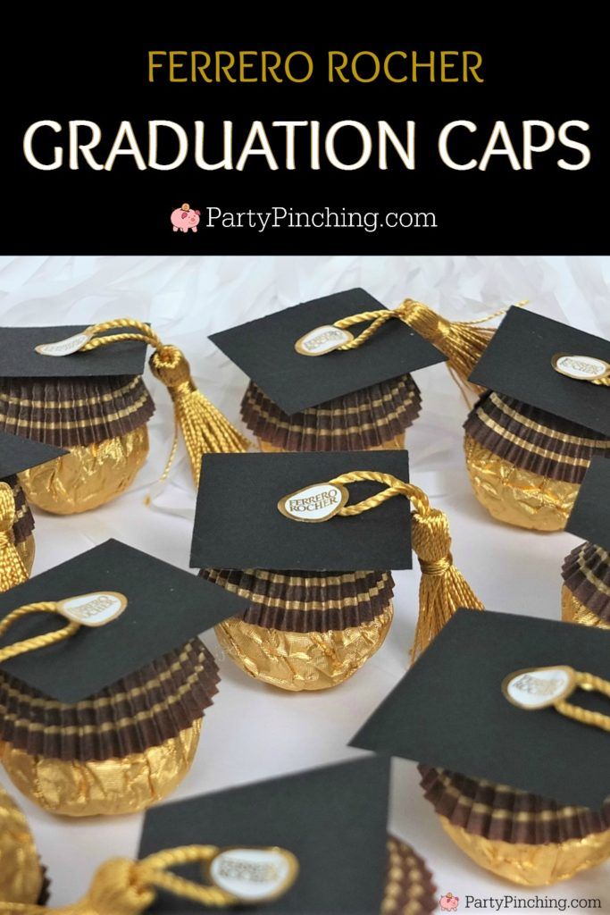ferrero rocher candy graduation caps, cute candy graduation favors, diy grad favors, best graduation favors dessert treat, best graduation food, best grad open house party ideas