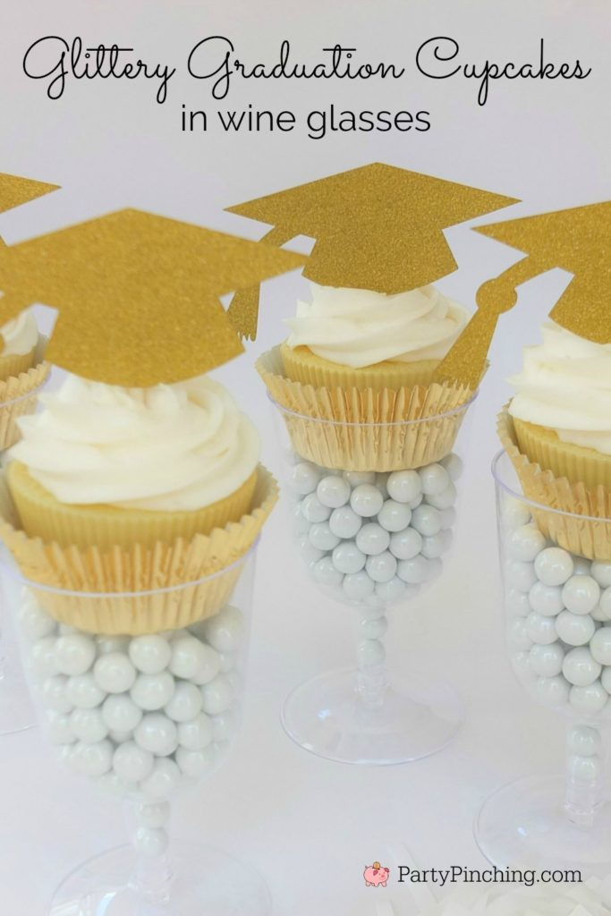 2020 Graduation Decorations, graduation cupcake in wine glass, glitter gold cupcake grad party, best graduation party ideas, easy cheap affordable grad party open house, dollar store graduation ideas, candy in wine champagne glass cupcake favor