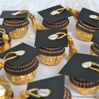 ferrero rocher candy graduation caps, cute candy graduation favors, diy grad favors, best graduation favors dessert treat, best graduation food, best grad party ideas