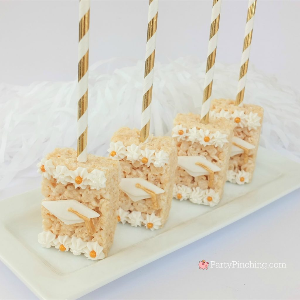 graduation rice krispie treats, best graduation recipe ideas, best grad food decor ideas, diy easy cheap inexpensive glam graduation party, pretty gold white rice krispie treats