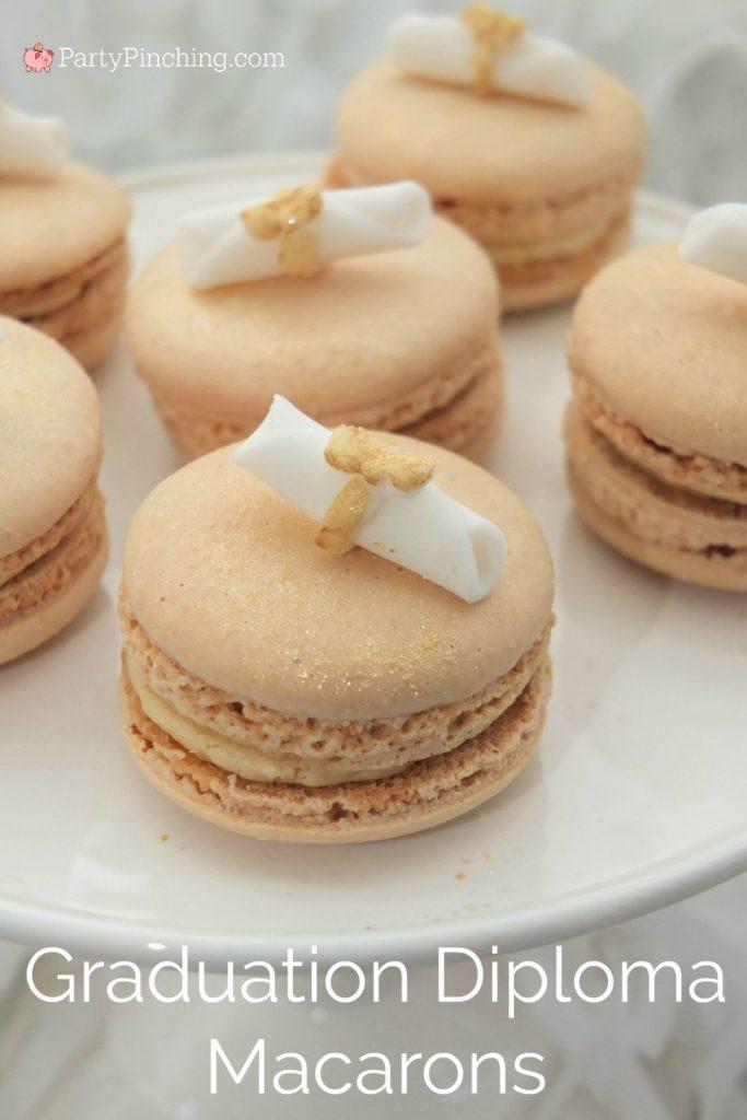 Graduation Party Ideas 2020, graduation macarons, pretty gold macarons, diploma macarons, gold glitter macarons, best macaron recipe, beautiful macarons macaroons