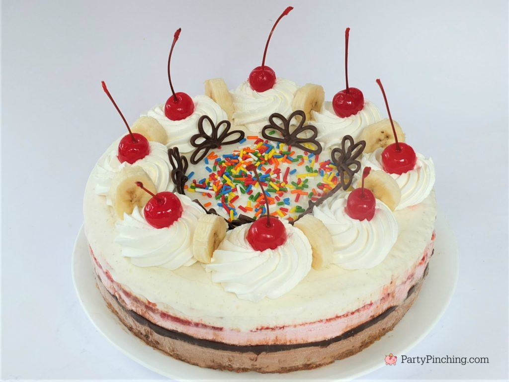 banana split ice cream cake, best banana split recipe, layered ice cream cake, best ever ice cream cake recipe, best summer recipes, 4th of July desserts, kids party cake