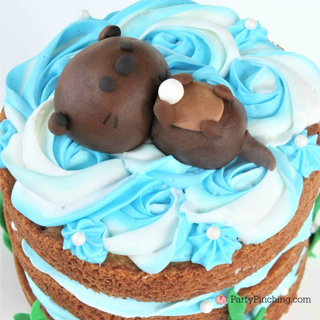 Sea Otter Cookie Cake, cute cookie cake, sea otter cake, adorable sea otter party ideas, animal cake, cute cake for kids, fondant otter