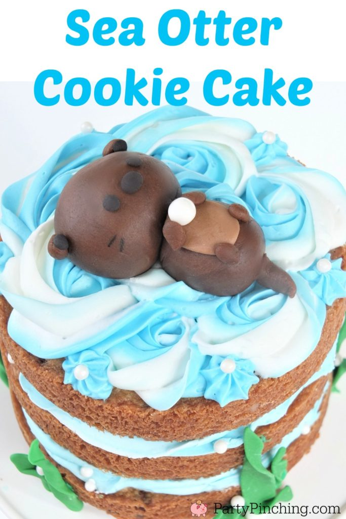 Sea Otter Cookie Cake, cute cookie cake, sea otter cake, adorable sea otter party ideas, animal cake, cute cake for kids