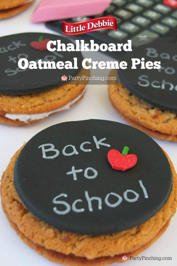 Back to School Little Debbie Oatmeal Creme Pies, chalkboard cookies, notepaper cookies, fun school lunch recipe ideas easy to make snack food ideas for kids