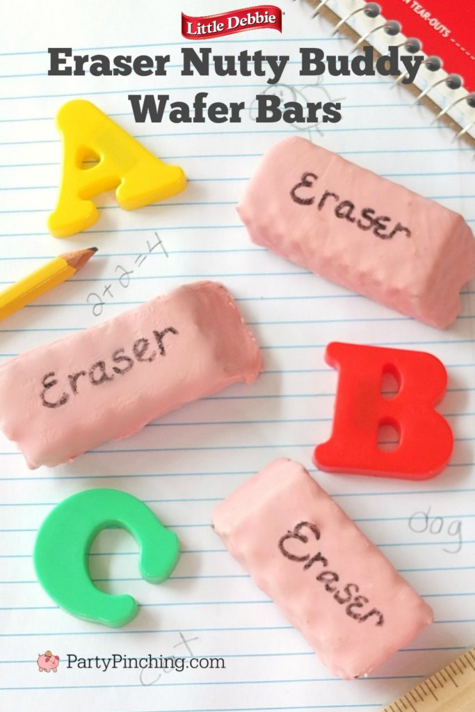 eraser nutty buddy wafer bars, back to school wafer cookies, best back to school food lunch snack ideas, teacher appreciate gift ideas, best fun food for school after school snack recipe ideas for kids, Little Debbie Nutty Buddy Wafer Bars, partypinching.com, Party Pinching