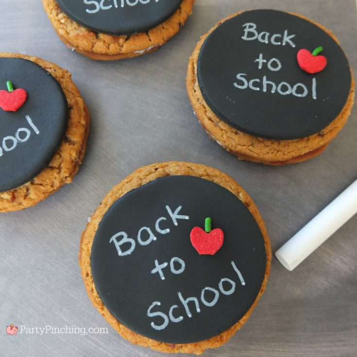 chalkboard oatmeal creme pies, back to school chalkboard cookies, fun lunch snack food recipe ideas for kids school, afterschool snacks, teacher appreciattion gift ideas, Little Debbie Oatmeal Creme Pies, Party Pinching partypinching.com