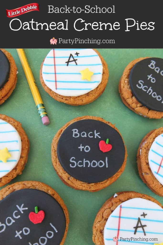 Back to School Little Debbie Oatmeal Creme Pies, chalkboard cookies, notepaper cookies, fun school lunch recipe ideas easy to make snack food ideas for kids