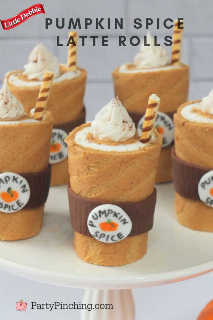 Party Pinching's Pumpkin Spice Latte Rolls, Little Debbie Swiss Rolls, Adorable Cute Pumpkin Spice Latte Cake, Thanksgiving Fall Dessert Recipe, Best Pumkin Spice Recipe