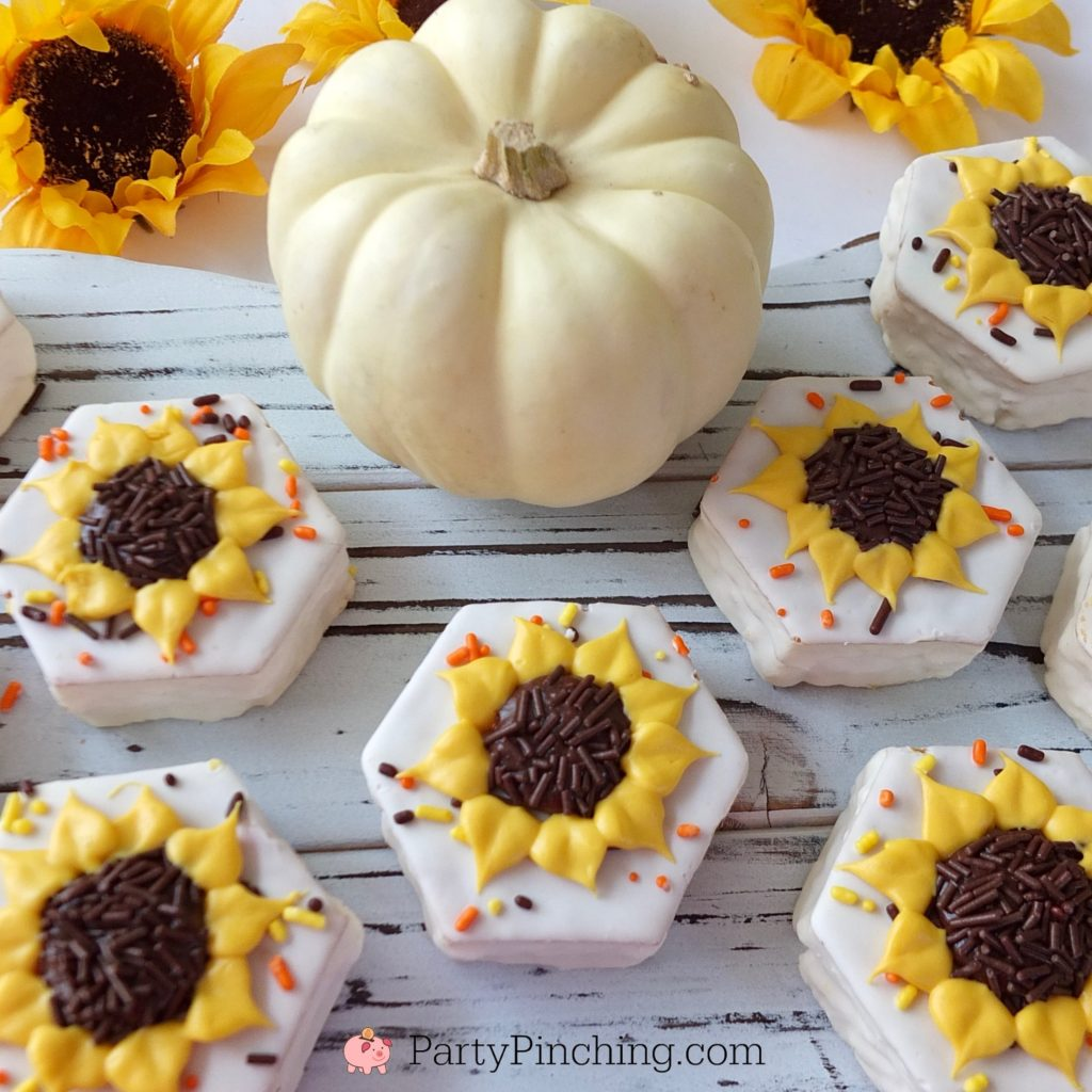 Sunflower Fall Party Cakes, No Bake Little Debbie Snack Cakes, Easy Harvest Party Ideas, Autumn Sunflower Treat, Pretty Sunflower Cakes