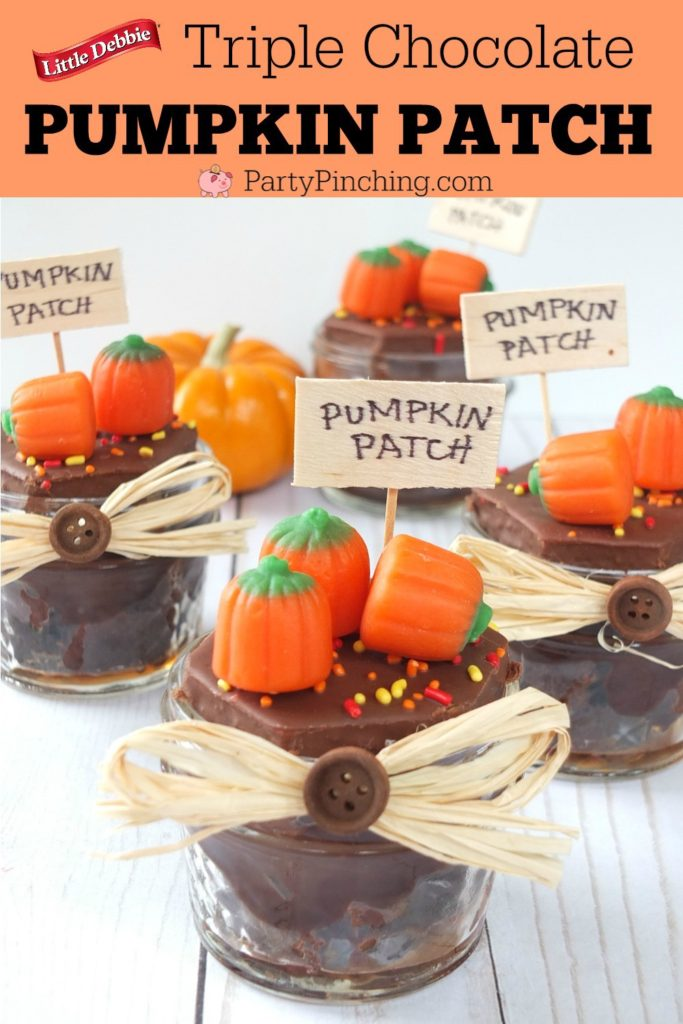 Triple Chocolate Pumpkin Patch, Little Debbie brownies, best easy Halloween treat for kids, Halloween school party ideas, classroom treat ideas