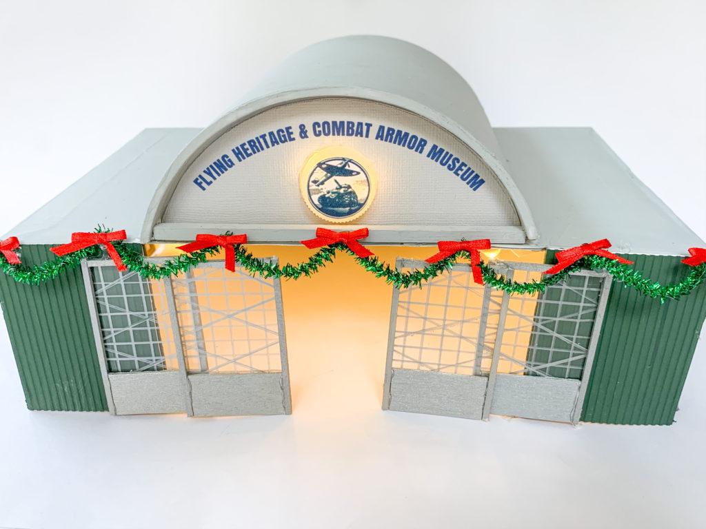 DIY airplane hangar model, flying heritage & combat armor museum model, DIY FHCAM model, Christmas village airplane hangar, peanuts Christmas village department 56, party pinching