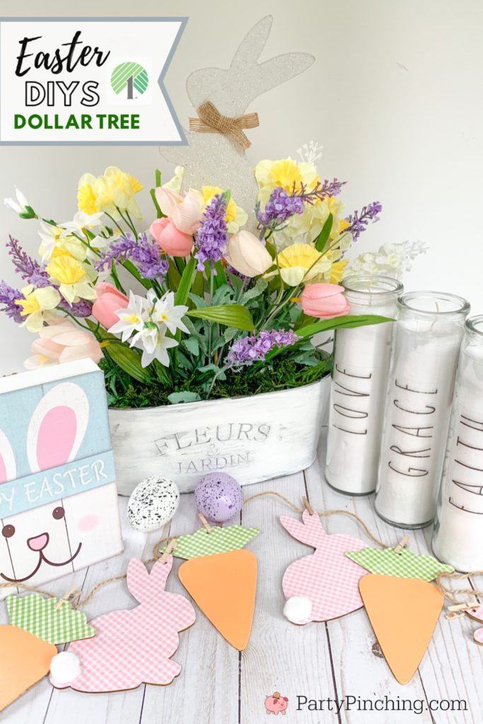 Dollar Tree DIY, Dollar Tree crafts, Easter Dollar store, dollar general diy, cheap inexpensive dollar store decor, budget crafts, Rae Dunn inspired crafts candles, Rae Dunn dupes, Rae Dunn copycats, best inexpensive Easter craft decor