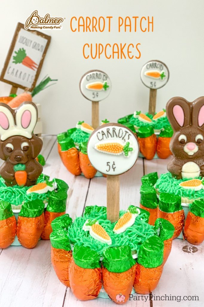 carrot patch cupcakes, cute Easter cupcakes, best Easter cupcake recipe, carrot bunny cupcakes, R.M. Palmer Easter candy