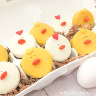 chicken oreos, best chicken cookie recipe, best chicken party ideas, barnyard farm party cookie ideas, cute chick rooster cookies, best Easter cookie recipes, easy Easter dessert ideas, party pinching, partypinching.com