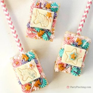 unicorn rice krispie treats, best unicorn party ideas, unicorn crispy rice marshmallow treats, rm palmer unicorn sprinkles candy bar, party piinching, sweet treats, best fun food ideas for kids, best unicorn recipies