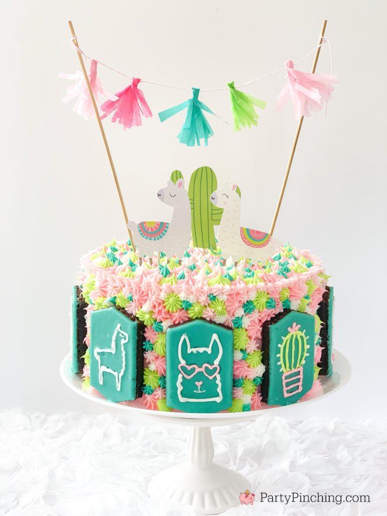 llama cake, best llama cake recipe, cute llama cake, pretty llama cake, teal pink llama cake, best buttercream frosting recipe, little debbie llama brownies, partypinching.com