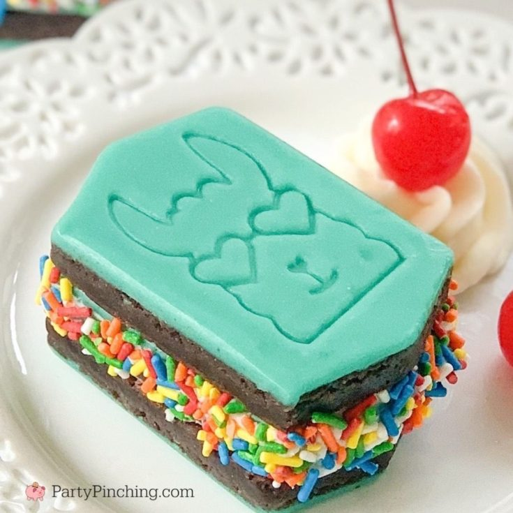 llama ice cream sandwiches, little debbie llama brownies, best ice cream sandwich recipe, best brownie ice cream sandwich recipe, ice cream sandwich with rainbow sprinkles, teal frosting icing, best llama party ideas, party pinching