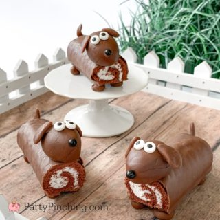 Dog cupcakes, puppy cupcakes, dog cake, puppy cakes, easy dog puppy party theme ideas, little debbie swiss rolls, fun food for kids