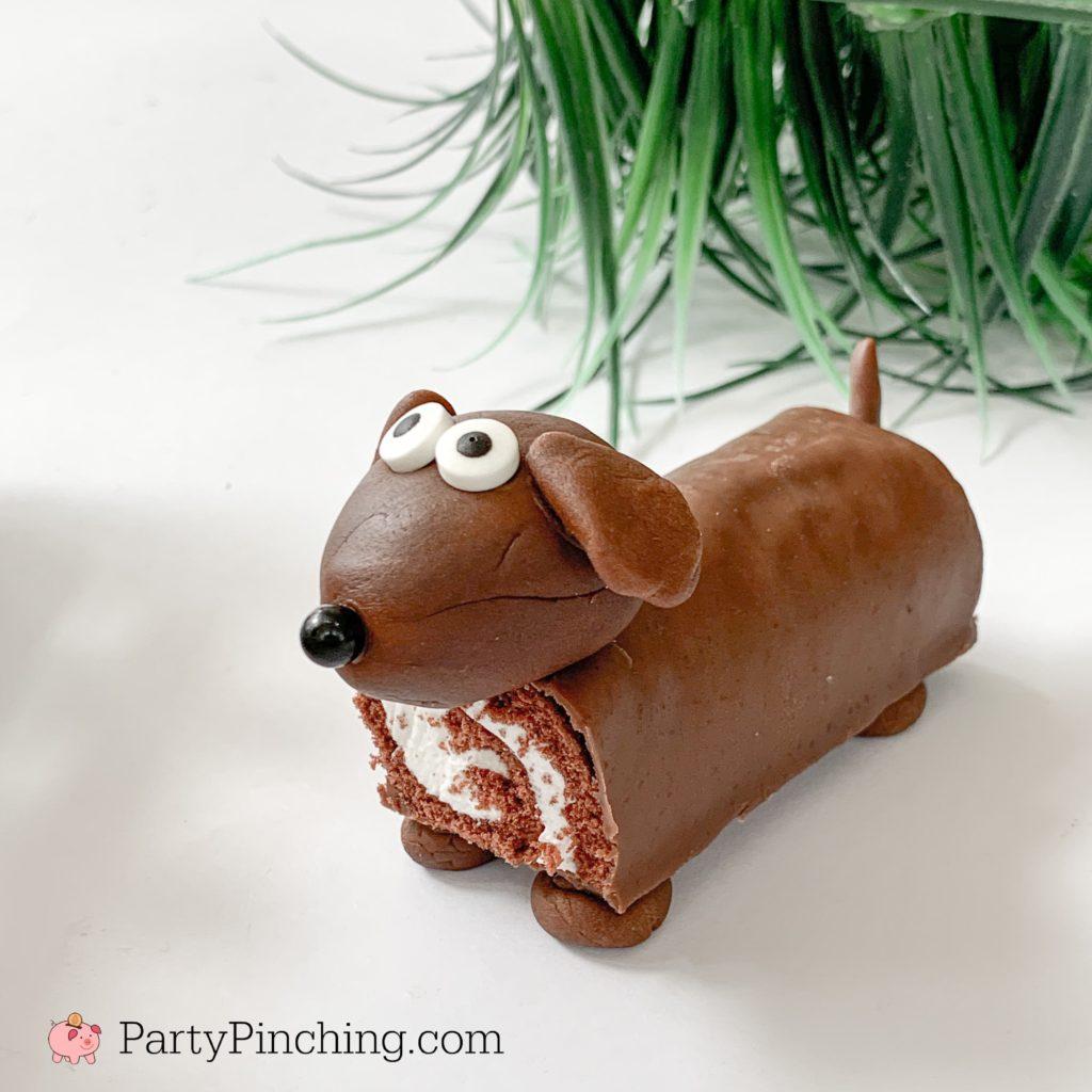 Dog cupcakes, puppy cupcakes, dog cake, puppy cakes, easy dog puppy party theme ideas, little debbie swiss rolls, fun food for kids