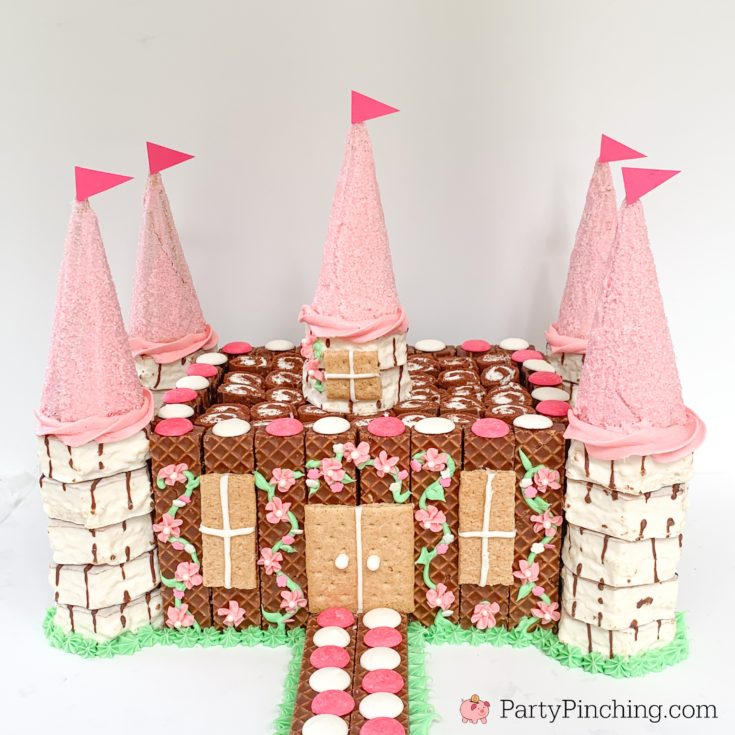 Castle Cake, Easy Castle Cake, Best Princess Party Ideas, Pink Princess Cake, Little Debbie Castle Cake, Fun Easy Creative Birthday Cake Ideas and Recipes, Fun Cakes for Kids, Best Birthday Cake Recipes