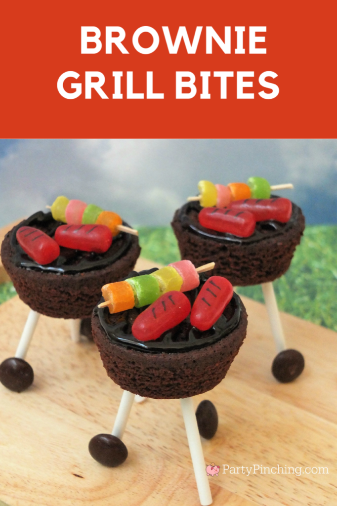 brownie outdoor grill, brownie grill bites, BBQ brownie grill with candy hot dog and skewers, candy skewer, candy grilled hot dogs, charcoal grill dessert brownies, sweet treat picnic BBQ brownies with wheels, kettle BBQ brownies
