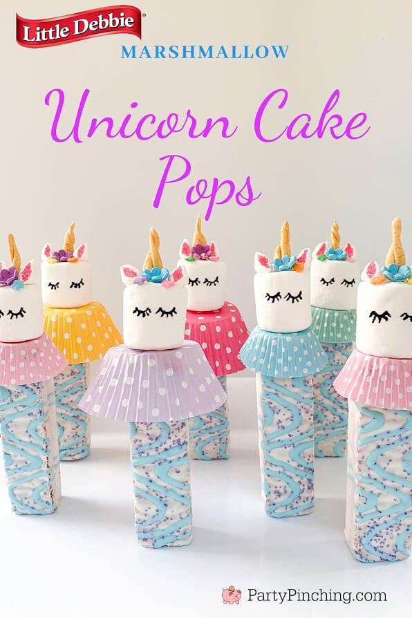 Unicorn Cake Pops, Best Unicorn Cake Recipes, Unicorn Party Ideas for Kids, Marshmallow Unicorn Treats, Unicorn Pops, Little Debbie Unicorn Cakes