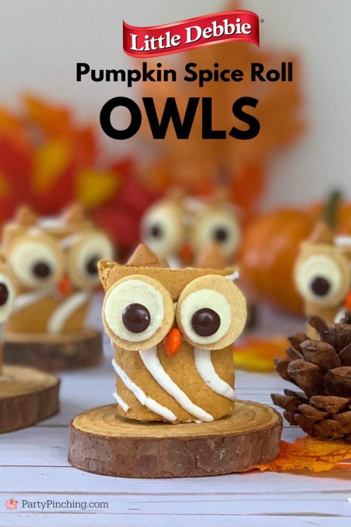Owl cake, owl cupcakes, cute owl craft ideas for kids, Harvest party ideas for kids, best harvest fall Halloween ideas, Little Debbie Pumpkin Spice Rolls