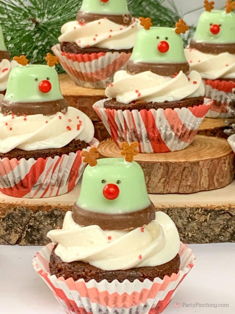 Minty Bell Reindeer Brownies, Best Christmas Dessert Recipes, Cute Reindeer Brownies, Mint Chocolate Brownies